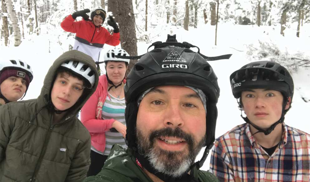 Mr. Harkless and class during a winter ride at PRKR trails